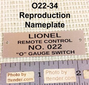 Lionel V-107 V Transformer Metal Nameplate
